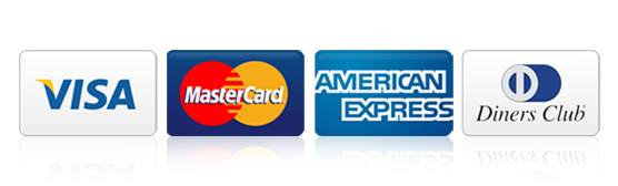 Visa, Mastercard, American Express, Diners